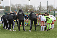 players of OHL  pictured during a teambuilding moment during  a female soccer game between Club Brugge Dames YLA and Oud Heverlee Leuven on the first matchday in Play-Off 1 of the 2020 - 2021 season of Belgian Scooore Womens Super League , saturday 3 th April 2021  in Brugge , Belgium . PHOTO SPORTPIX.BE | SPP | DIRK VUYLSTEKE