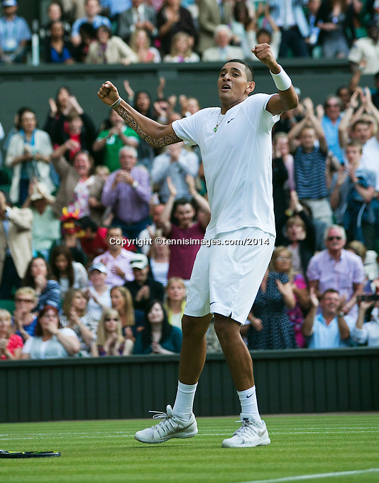 England, London, 28.06.2014. Tennis, Wimbledon, AELTC, Nick Kyrgios (AUS) defeats Rafael Nadal (ESP) and celebrates<br /> Photo: Tennisimages/Henk Koster