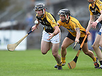 Gearoid O Connell of Ballyea in action against Cathal O Connell of Clonlara during their senior county final replay at Cusack Park. Photograph by John Kelly.