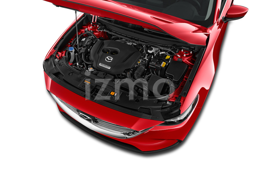 Car Stock 2018 Mazda CX-9 Touring-FWD 5 Door SUV Engine  high angle detail view
