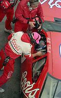 Bill Elliott injury Jody Ridley driver change pis pit stop Daytona 500 at Daytona International Speedway on February 19, 1989.  (Photo by Brian Cleary/www.bcpix.xom)