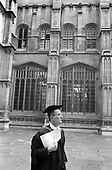An Oxford don in a gown and mortar board outside the Bodleian Library.