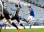 St Mirren v St Johnstone…09.05.21  Scottish Cup Semi-Final Hampden Park <br />Craig Bryson's shot is saved by Jak Alnwik<br />Picture by Graeme Hart.<br />Copyright Perthshire Picture Agency<br />Tel: 01738 623350  Mobile: 07990 594431