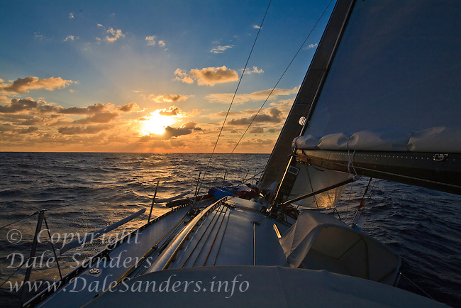Sailing across open ocean at sunset or sunrise.  Sailing from Hawaii to California on a fifty foot long sailboat.