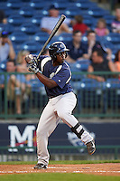 Pensacola Blue Wahoos first baseman Marquez Smith (21) at bat during a game against the Mississippi Braves on May 28, 2015 at Trustmark Park in Pearl, Mississippi.  Mississippi  defeated Pensacola 4-2.  (Mike Janes/Four Seam Images)