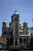 Belgrade, Serbia. St Mark's Cathedral; orthodox church with green domed towers.
