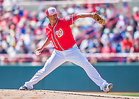 7 March 2016: Washington Nationals pitcher Joe Ross on the mound during a Spring Training pre-season game against the Miami Marlins at Space Coast Stadium in Viera, Florida. The Nationals defeated the Marlins 7-4 in Grapefruit League play. Mandatory Credit: Ed Wolfstein Photo *** RAW (NEF) Image File Available ***