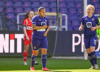 Mariam Abdulai Toloba (19) of Anderlecht pictured celebrating after scoring a goal during a female soccer game between RSC Anderlecht Dames and Standard Femina De Liege on the third matchday of play off 1 of the 2020 - 2021 season of Belgian Womens Super League , saturday 24 th of April 2021  in Brussels , Belgium . PHOTO SPORTPIX.BE   SPP   DAVID CATRY