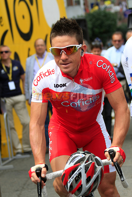 Samuel Dumoulin (FRA) Cofidis arrives at sign on before the start of Stage 2 of the 99th edition of the Tour de France 2012, running 207.5km from Vise to Tournai, Belgium. 2nd July 2012.<br /> (Photo by Eoin Clarke/NEWSFILE)
