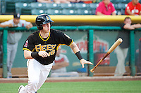 Zach Borenstein (18) of the Salt Lake Bees at bat against the Nashville Sounds in Pacific Coast League action at Smith's Ballpark on June 23, 2014 in Salt Lake City, Utah.  (Stephen Smith/Four Seam Images)