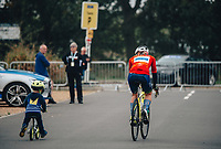 8th October 2021; AJ Bell Womens Cycling Tour, Stage 5, Colchester to Clacton on Sea. Nina KESSLER [NED] with a young rider at the start.