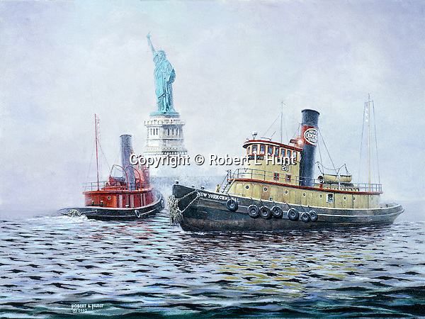 """New York Central Railroad tugboat near the Statue of Liberty in New York harbor. Oil on canvas, 12"""" x 9""""."""