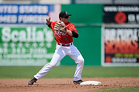 Batavia Muckdogs second baseman Gunnar Schubert (44) turns a double play during a game against the Lowell Spinners on July 15, 2018 at Dwyer Stadium in Batavia, New York.  Lowell defeated Batavia 6-2.  (Mike Janes/Four Seam Images)