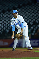 North Carolina Tar Heels relief pitcher Austin Bergner (45) in action against the Miami Hurricanes in the second semifinal of the 2017 ACC Baseball Championship at Louisville Slugger Field on May 27, 2017 in Louisville, Kentucky. The Tar Heels defeated the Hurricanes 12-4. (Brian Westerholt/Four Seam Images)