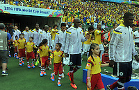 FORTALEZA - BRASIL -04-07-2014. Jugadores de Colombia (COL) ingresan al campo a los actos protocolarios previo al partido de los cuartos de final con Brasil (BRA) por la Copa Mundial de la FIFA Brasil 2014 jugado en el estadio Castelao de Fortaleza./ Players of Colombia (COL) go inside the field before formal events prior the match of the Quarter Finals with Brazil (BRA) for the 2014 FIFA World Cup Brazil played at Castelao stadium in Fortaleza. Photo: VizzorImage / Alfredo Gutiérrez / Contribuidor