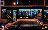 A bus in CBD of Beijing, China. .06 Jan 2006