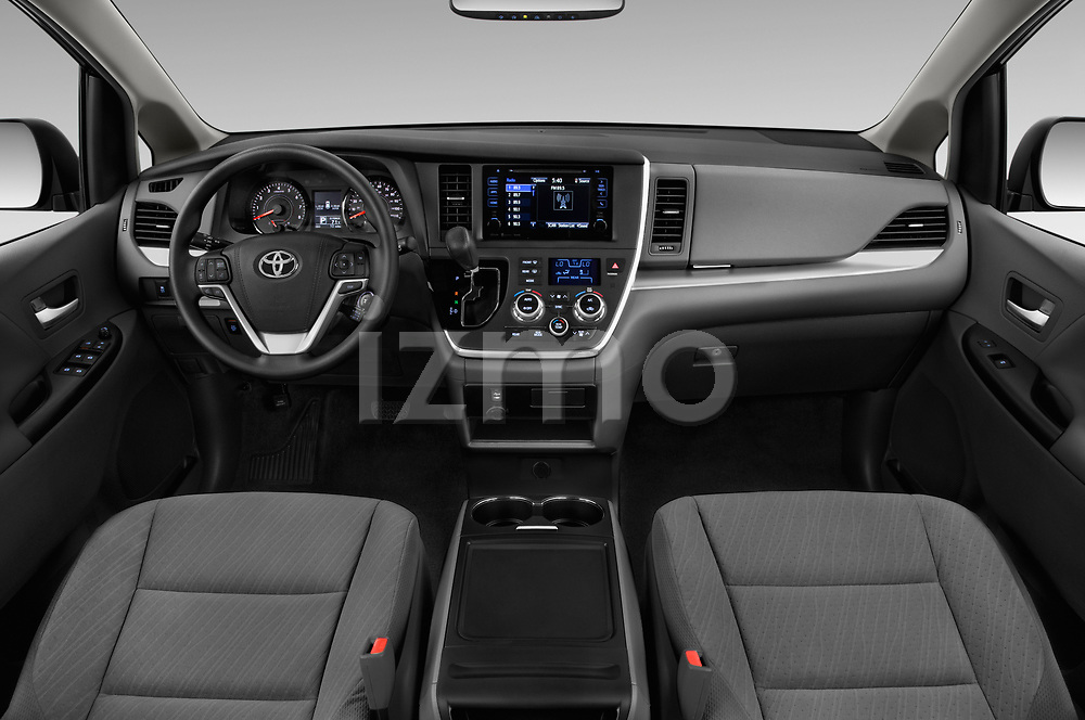 Stock photo of straight dashboard view of a 2017 Toyota Sienna LE 5 Door Mini Van