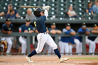 Second baseman Chandler Avant (5) of the Columbia Fireflies bats in a game against the Rome Braves on Tuesday, June 4, 2019, at Segra Park in Columbia, South Carolina. Columbia won, 3-2. (Tom Priddy/Four Seam Images)