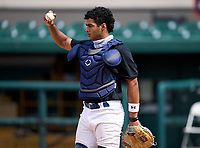 Westminster Christian Warriors catcher Jayden Melendez (14) during practice before the 42nd Annual FACA All-Star Baseball Classic on June 5, 2021 at Joker Marchant Stadium in Lakeland, Florida.  (Mike Janes/Four Seam Images)