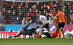30.11.2018 Dundee Utd v Ayr Utd: Lawrence Shankland scores past Benjamin Siegrist