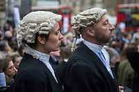 Protest by lawyers, solicitors and barristers outside Parliament against government plans to introduce price competitive tendering for criminal legal aid work. 7-3-14
