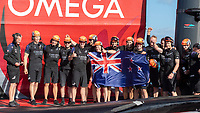 17th March 2021; Waitemata Harbour, Auckland, New Zealand;  Emirates Team New Zealand on board Te Rehutai after winning the America's Cup against Luna Rossa Prada Pirelli Team 7 - 3.  Wednesday the 17th of March 2021.
