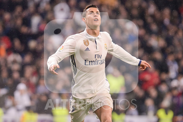 Real Madrid's Cristiano Ronaldo celebrating a goal during La Liga match between Real Madrid and Real Sociedad at Santiago Bernabeu Stadium in Madrid, Spain. January 29, 2017. (ALTERPHOTOS/BorjaB.Hojas)