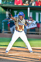 Luis Paz (15) of the Ogden Raptors at bat against the Orem Owlz in Pioneer League action at Lindquist Field on July 29, 2016 in Ogden, Utah. Orem defeated Ogden 8-5. (Stephen Smith/Four Seam Images)