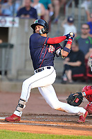 Cedar Rapids Kernels shortstop Royce Lewis (30) swings at a pitch against the Peoria Chiefs at Veterans Memorial Stadium on June 16, 2018 in Cedar Rapids, Iowa. The Kernels won 12-4.  (Dennis Hubbard/Four Seam Images)