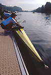 US Women's Eight, Lucerne, Switzerland, FISA 2001 World Rowing Championships, Wendy Wilbur, Lucerne Rotsee, coming off the water after workout,