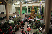 Sao Paulo, Brazil. Iguatemi shopping centre with Christmas tree and boys choir.