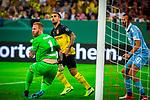 09.08.2019, Merkur Spiel-Arena, Düsseldorf, GER, DFB Pokal, 1. Hauptrunde, KFC Uerdingen vs Borussia Dortmund , DFB REGULATIONS PROHIBIT ANY USE OF PHOTOGRAPHS AS IMAGE SEQUENCES AND/OR QUASI-VIDEO<br /> <br /> im Bild | picture shows:<br /> Kevin Grosskreutz (KFC Uerdingen #6) retten den Ball von der Torlinie vor dem schussbereiten Paco Alcacer (Borussia Dortmund #9), <br /> <br /> Foto © nordphoto / Rauch