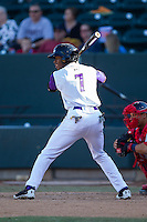Tim Anderson (7) of the Winston-Salem Dash at bat against the Salem Red Sox at BB&T Ballpark on April 20, 2014 in Winston-Salem, North Carolina.  The Dash defeated the Red Sox 10-8.  (Brian Westerholt/Four Seam Images)