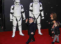 Actor Warwick Davis walks past Storm Troopers  during the STAR WARS: 'The Force Awakens' EUROPEAN PREMIERE at Odeon, Empire & Vue Cinemas, Leicester Square, England on 16 December 2015. Photo by David Horn / PRiME Media Images