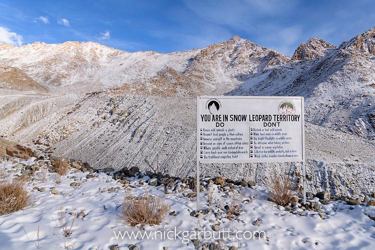 Sign showing entering snow leopard territory (Panthera uncia)(formerly Uncia uncia). Ladakh Ranges, Himalayas, Ladakh, India.