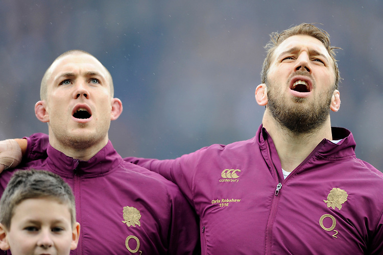 Mike Brown (left) and Chris Robshaw of England during the RBS 6 Nations match between England and Italy at Twickenham Stadium on Saturday 14th February 2015 (Photo by Rob Munro)