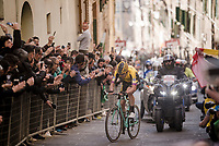 Wout Van Aert (BEL/Jumbo-Visma) solo on the final infamous city climb in the narrow streets of Siena, just 500m before the finish. Again he will finish on the podium in his 2nd ever Strade.<br /> <br /> 13th Strade Bianche 2019 (1.UWT)<br /> One day race from Siena to Siena (184km)<br /> <br /> ©kramon