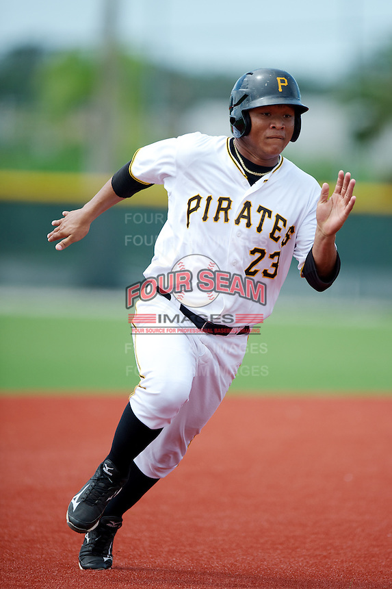 GCL Pirates Harold Ramirez #23 during a Gulf Coast League game against the GCL Phillies at Pirate City on July 18, 2012 in Bradenton, Florida.  GCL Pirates defeated the GCL Phillies 6-3.  (Mike Janes/Four Seam Images)