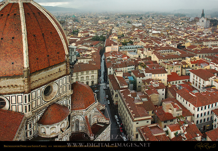 Brunelleschi Dome and Southeast Florence from Giotto Campanile Santa Maria del Fiore Florence