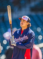 21 April 2013: Washington Nationals third baseman Anthony Rendon awaits his turn in the batting cage prior to his Major League debut against the New York Mets at Citi Field in Flushing, NY. Rendon was called up to replace Ryan Zimmerman, who was placed on the 15-day Disabled List with a recovering hamstring. The Mets shut out the visiting Nationals 2-0, taking the rubber match of their 3-game weekend series. Mandatory Credit: Ed Wolfstein Photo *** RAW (NEF) Image File Available ***