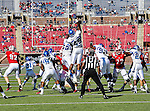 Memphis Tigers linebacker Charles Harris (49) and Memphis Tigers defensive lineman Johnnie Farms (59) try to block a field goal during the game between the Memphis Tigers and the Southern Methodist Mustangs at the Gerald J. Ford Stadium in Dallas, Texas. SMU defeats Memphis 44 to 13.
