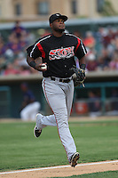 Duanel Jones #20 of the Lake Elsinore Storm during a game against the Lancaster JetHawks at The Hanger on August 2, 2014 in Lancaster, California. Lake Elsinore defeated Lancaster, 5-1. (Larry Goren/Four Seam Images)