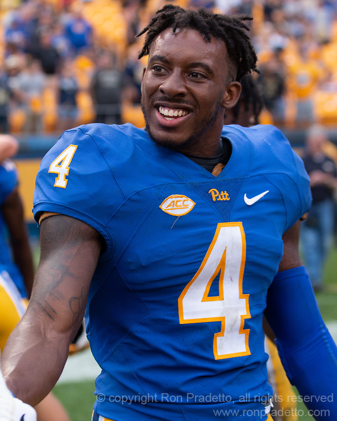 Pitt defensive back Therran Coleman celebrates the win and his interception to win the game. The Pitt Panthers defeated the Syracuse Orange 44-37 in overtime at Heinz Field in Pittsburgh, Pennsylvania on October 6, 2018.