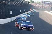 Monster Energy NASCAR Cup Series<br /> Brickyard 400<br /> Indianapolis Motor Speedway, Indianapolis, IN USA<br /> Sunday 23 July 2017<br /> Denny Hamlin, Joe Gibbs Racing, FedEx Cares Toyota Camry and David Ragan, Front Row Motorsports, Dockside Logistics Ford Fusion<br /> World Copyright: Russell LaBounty<br /> LAT Images