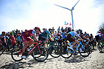 The peleton on one of the pave sectors during the 116th edition of Paris-Roubaix 2018. 8th April 2018.<br /> Picture: ASO/Pauline Ballet | Cyclefile<br /> <br /> <br /> All photos usage must carry mandatory copyright credit (© Cyclefile | ASO/Pauline Ballet)