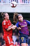 UEFA Women's Champions League 2018/2019.<br /> Semi Finals<br /> FC Barcelona vs FC Bayern Munchen: 1-0.<br /> Gina Lewandowski vs Alexia Putellas.