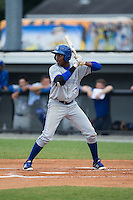 Jesus Severino (33) of the Bluefield Blue Jays at bat against the Burlington Royals at Burlington Athletic Stadium on June 27, 2016 in Burlington, North Carolina.  The Royals defeated the Blue Jays 9-4.  (Brian Westerholt/Four Seam Images)