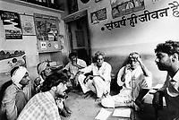 India, Narmada River, Narmada dams and protest movement of NBA Narmada Bachao Andolan, movement to save the Narmada river, and affected Adivasi in their villages, NBA office Badwani