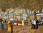 """""""Metropolitan Abbesses""""<br /> Limited Edition Lithograph Paper 18x24<br /> SN $600.<br /> With Original Watercolor Remarque $1,100<br /> <br /> The Paris Metro carries many secrets!"""