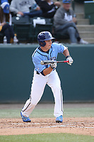 Paul Kunst (28) of the University of San Diego Toreros bunts against the UCLA Bruins at Jackie Robinson Stadium on March 4, 2017 in Los Angeles, California.  USD defeated UCLA, 3-1. (Larry Goren/Four Seam Images)